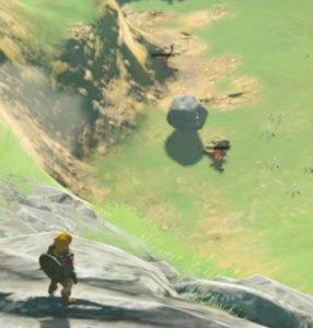 岩が敵をはねます