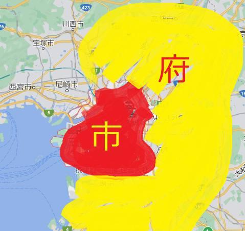 大阪府市の位置