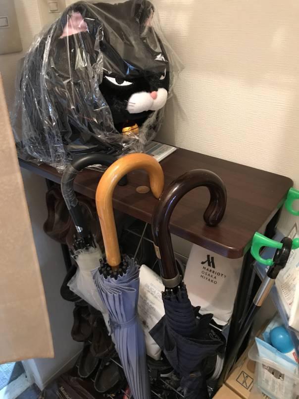 下駄箱に傘を置いてた